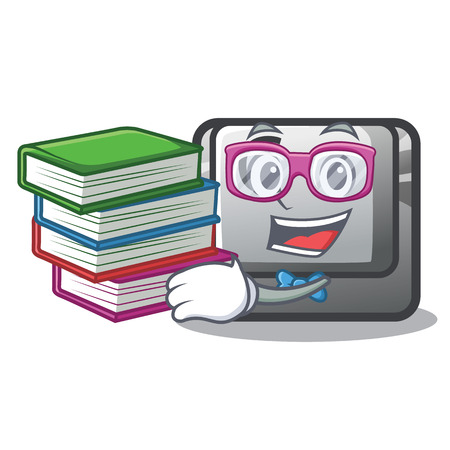Student with book button C installed on cartoon computer vector illustration Vecteurs