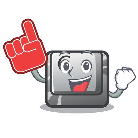 Foam finger button C installed on cartoon computer vector illustration Vecteurs