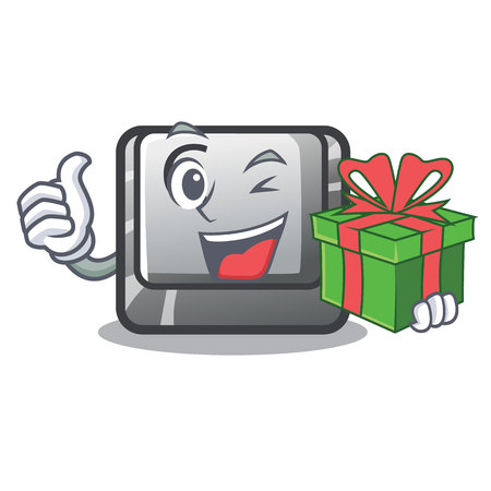 With gift button C isolated in the cartoon vector illustration Illustration