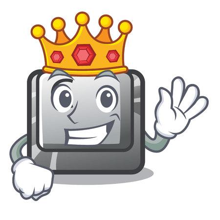 King button C installed on cartoon computer vector illustration Vecteurs