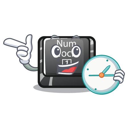 With clock num lock in the cartoon shape vector illustration Illustration