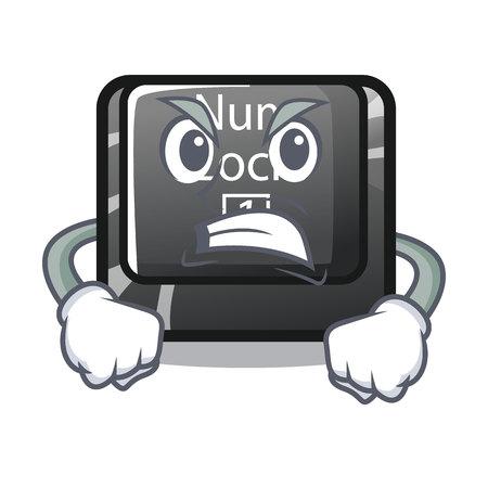 Angry num lock installed on cartoon computer vector illustration Vektorgrafik
