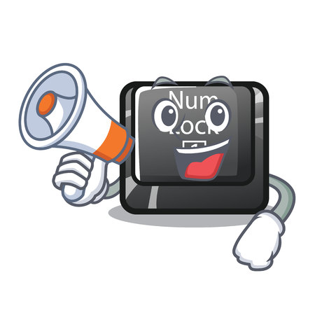 With megaphone num lock isolated with the character vector illustration