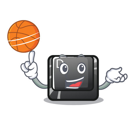 With basketball button D on a computer mascot vector illustration Illustration
