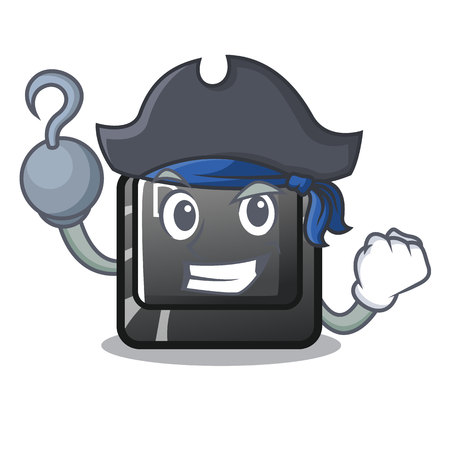 Pirate button D on a computer mascot vector illustration