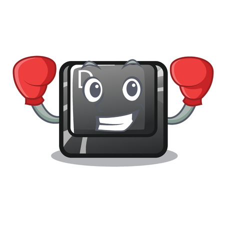 Boxing button D on a computer mascot vector illustration Illustration