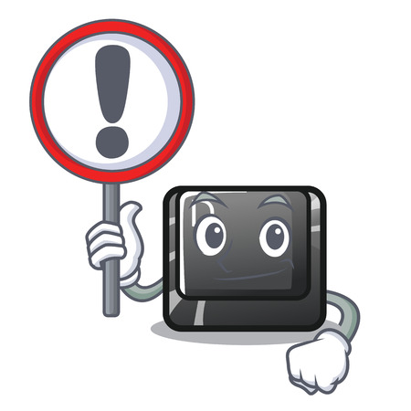 With sign button D on a computer mascot vector illustration Illustration