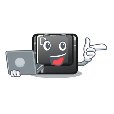 With laptop button D on a computer mascot vector illustration Illustration