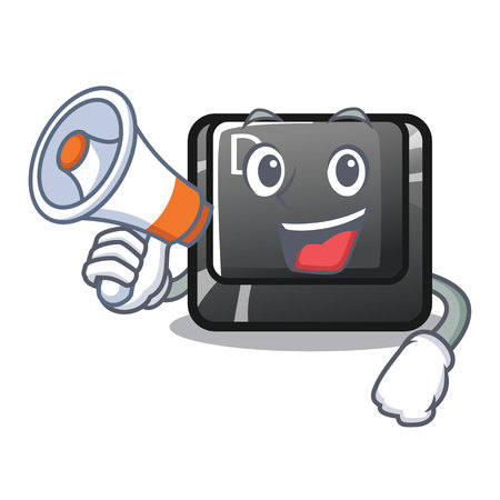 With megaphone button D on a computer mascot vector illustration
