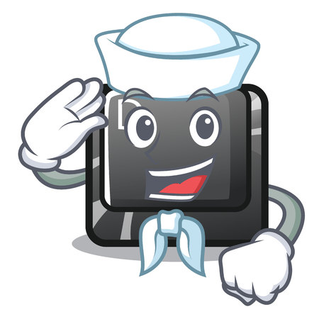 Sailor button D on a computer mascot vector illustration