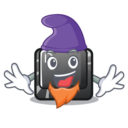 Elf button D on a computer mascot vector illustration