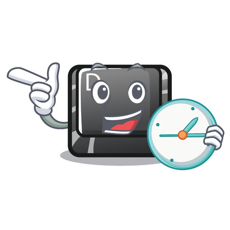 With clock button D isolated in the cartoon vector illustration
