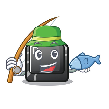 Fishing D button installed in game character vector illustration