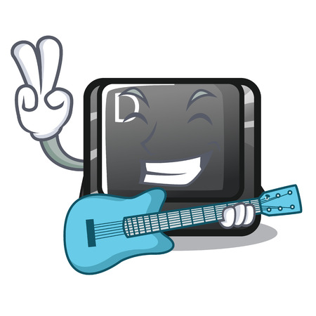 With guitar D button installed in game character vector illustration