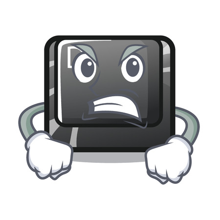 Angry D button installed in game character vector illustration