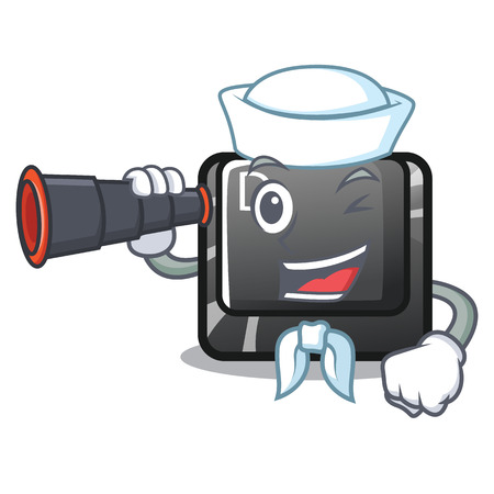 Sailor with binocular D button installed in game character vector illustration