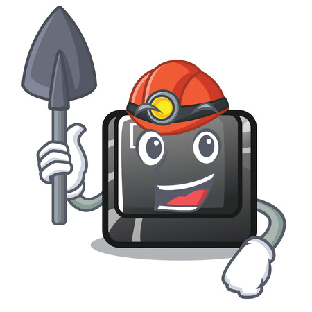 Miner D button installed in game character vector illustration