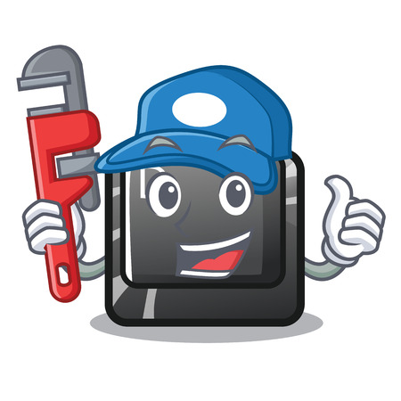 Plumber button D in the cartoon shape vector illustration