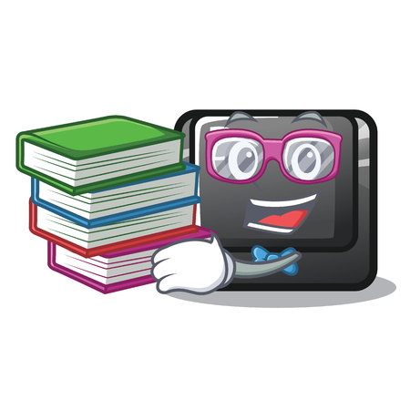 Student with book button D in the cartoon shape vector illustration