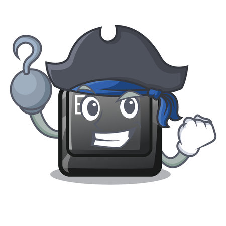 Pirate button E isolated with the character vector illustration