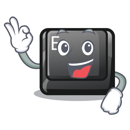 Okay E button attached to cartoon keyboard vector illustration Vectores