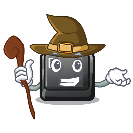 Witch button E in the mascot shape vector illustration