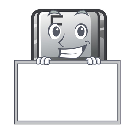 Grinning with board F button in the character shape vector illustration 写真素材 - 120633590