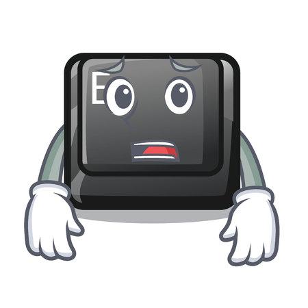 Afraid button E in the mascot shape vector illustration Illustration