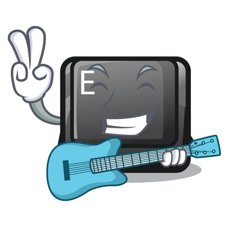 With guitar button E in the mascot shape vector illustration