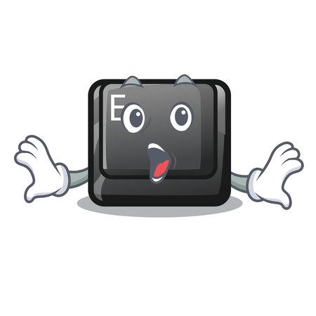 Surprised button E in the mascot shape vector illustration