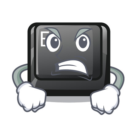 Angry button E in the mascot shape vector illustration