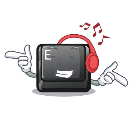 Listening music button E in the mascot shape vector illustration