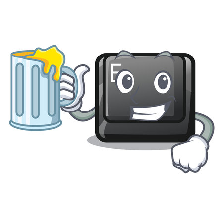 With juice button E in the mascot shape vector illustration