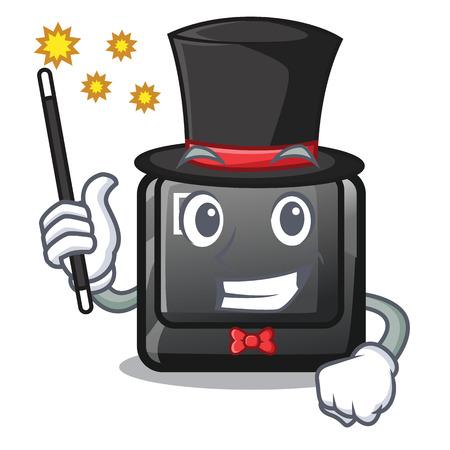 Magician button E on a game cartoon vector illustration