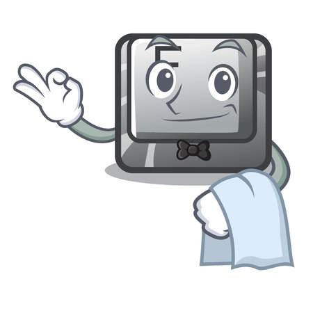 Waiter button F installed on cartoon computer vector illustration