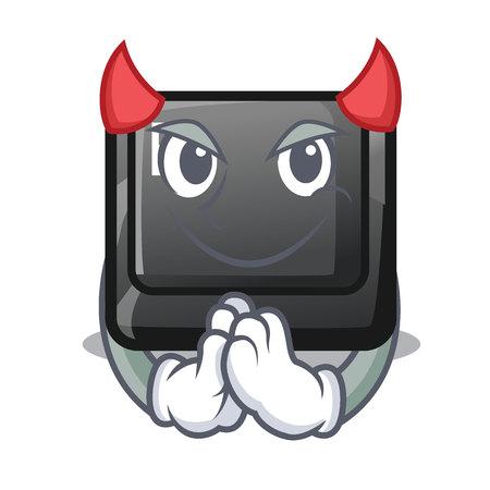 Devil button E in the mascot shape vector illustration