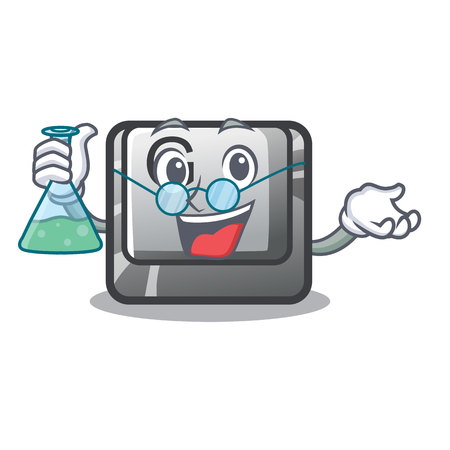 Professor button G on a game cartoon vector illustration