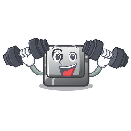 Fitness button G isolated in the cartoon vector illustration Illusztráció