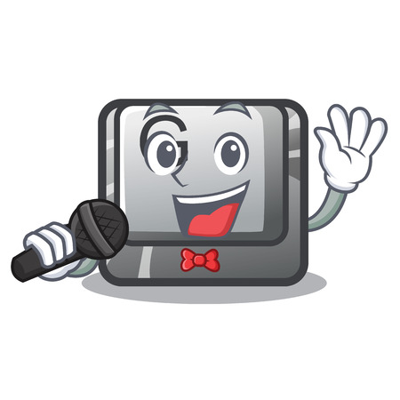 Singing button G in the character shape vector illustration