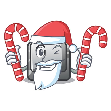 Santa with candy button G installed on mascot computer vector illustration  イラスト・ベクター素材