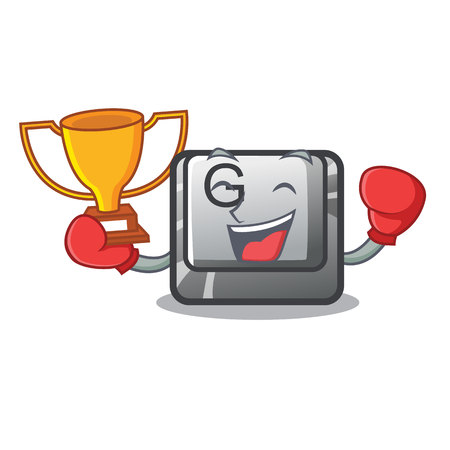 Boxing winner button G installed on mascot computer vector illustration