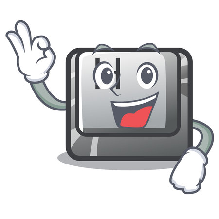 Okay button H in the shape cartoon vector illustration