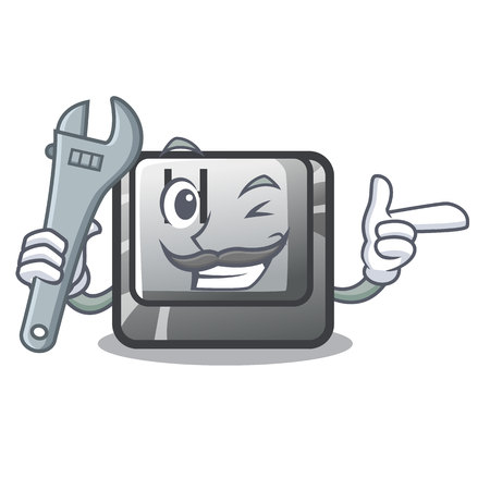 Mechanic button H on a the character vector illustration