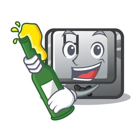With beer button H on a the character vector illustration Ilustração