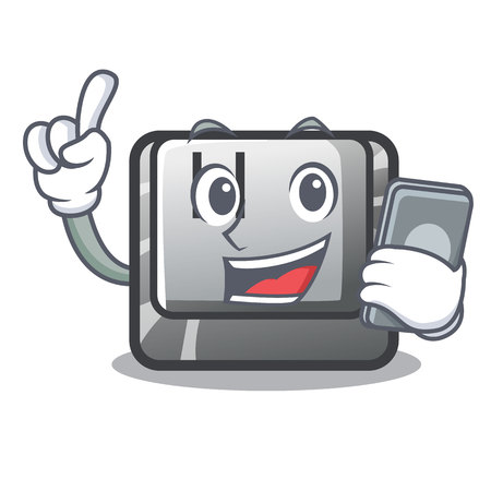 With phone H button installed in cartoon game vector illustration Illustration