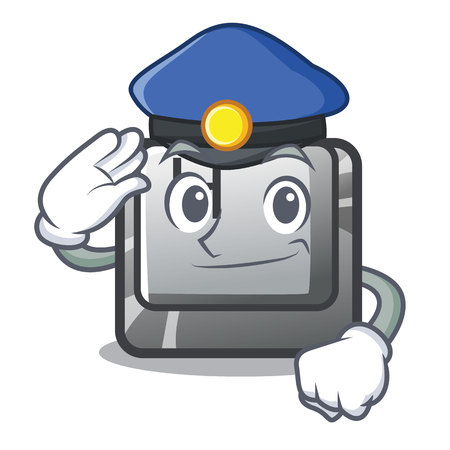 Police H button installed in cartoon game Stock Illustratie