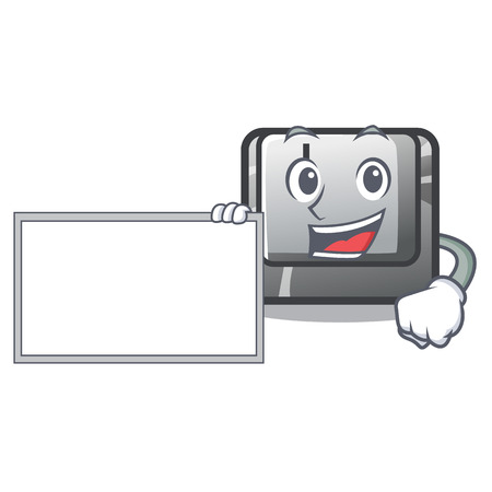 With board button I on a keyboard mascot vector illustration Illustration