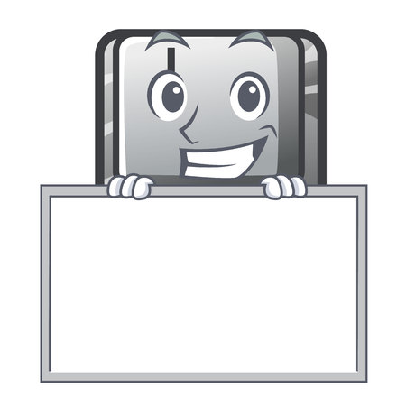 Grinning with board button I on a keyboard mascot