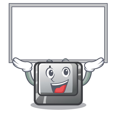 Up board button I on a keyboard mascot vector illustration