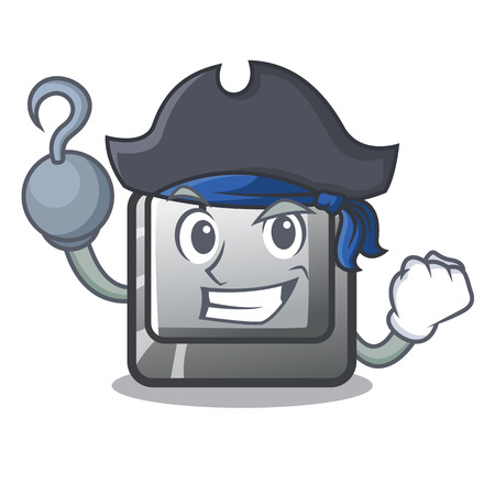 Pirate button I on a keyboard mascot Illustration